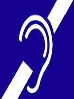 Símbolo internacional da Surdez - Desenho de uma orelha composto por uma linha na cor branca cruzado por uma diagonal na mesma cor.