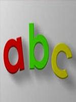 Letras A, B e C, respectivamente nas cores vermelho, verde e amarelo.
