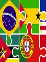 Imagens das bandeiras dos países que tem a Língua Portuguesa como oficial.