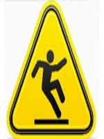 Placa amarela com uma figura humana escorregando.