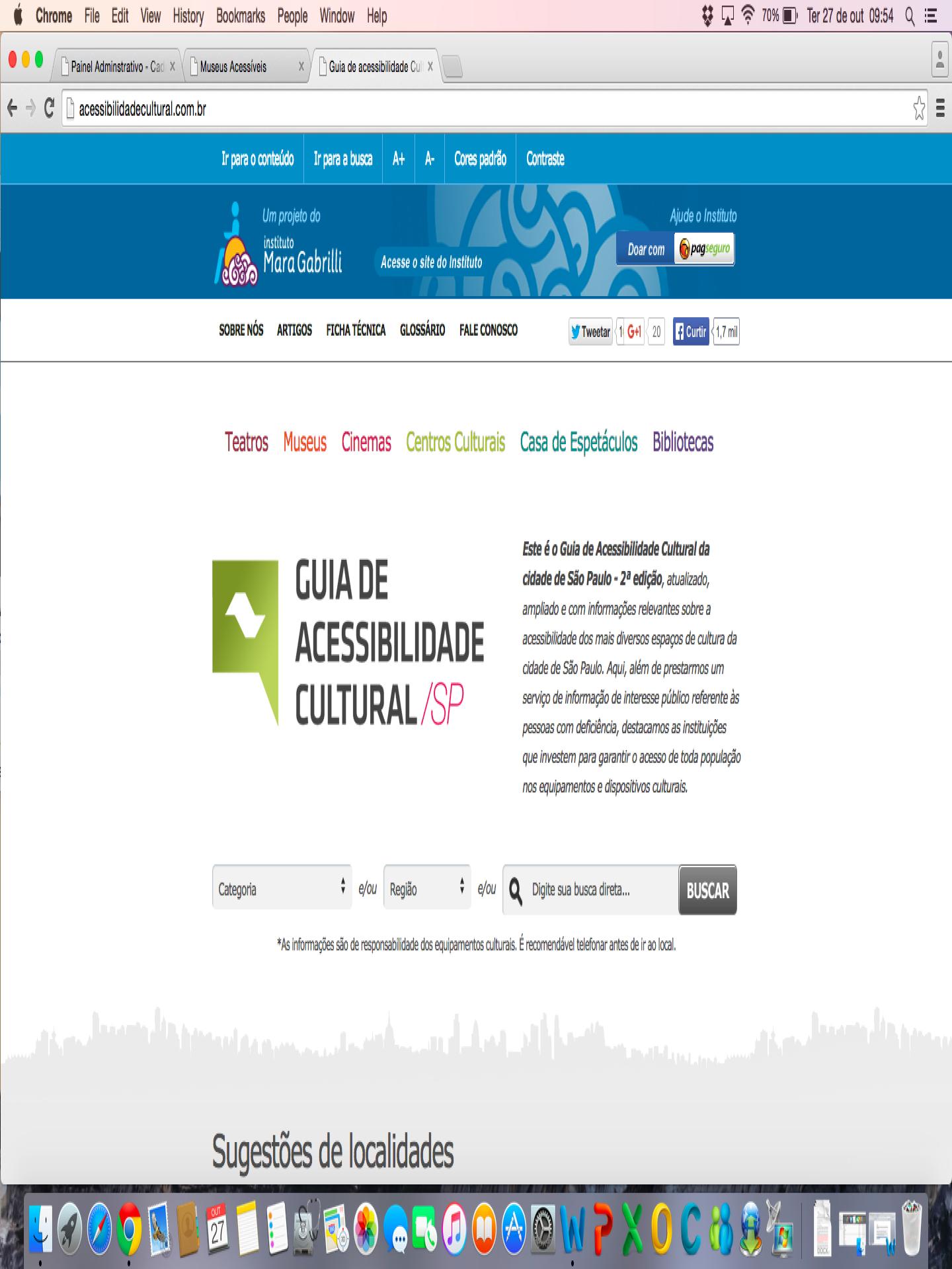 Imagem do página principal do site do Guia de Acessibilidade Cultural com texto de apresentação. Fundo branco, faixa superior azul com o logotipo do Instituto Mara Gabrilli