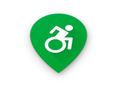 Logotipo do aplicativo guiaderodas. Um balão de localização de mapas virtuais na cor verde com o logotipo de pessoa com deficiência física na cor branca no centro.