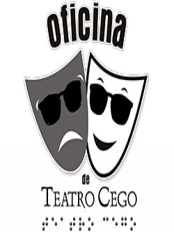 Logotipo da Oficina de Teatro Cego com desenho  em preto e branco de duas máscaras de óculos escuros, uma sorrindo e outra triste. Texto e letras braille na parte inferior.