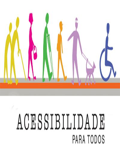 Ilustração colorida de silhuetas de pessoas com deficiência e mobilidade reduzida em cores vivas. Texto na parte inferior: Acessibilidade para todos.
