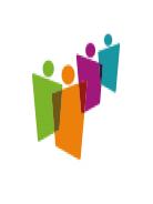 Logotipo do congresso com silhueta geométrica de quatro pessoas coloridas.