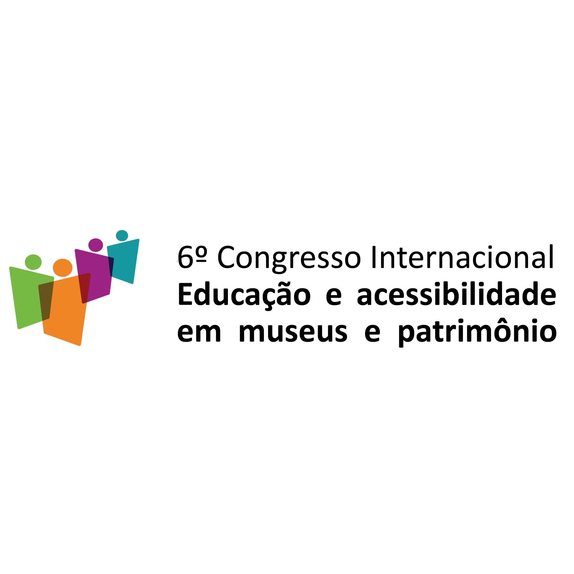 Sobre fundo branco, logomarca do 6º Congresso Internacional de Acessibilidade em Museus e Patrimônio à esquerda e à direita, em letras na cor preta, o nome do evento.