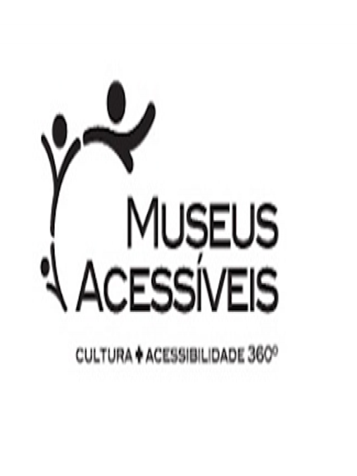 Sobre fundo na cor branca, logomarca da Museus Acessíveis na cor preta, composta por um semicírculo estilizado com traços e pequenas esferas e as palavras